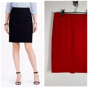 J. Crew Pencil Skirt Double Serge Wool Red 4